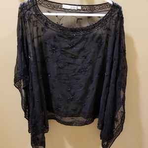 Black Beaded Poncho/Cape